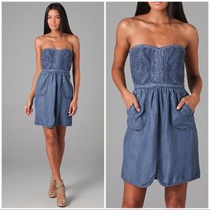 Rebecca Taylor Size 2 Quilted Denim Dress